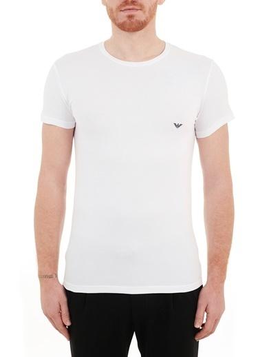Emporio Armani  Slim Fit Bisiklet Yaka Pamuklu T Shirt Erkek T Shırt 111035 Cc729 00010 Beyaz
